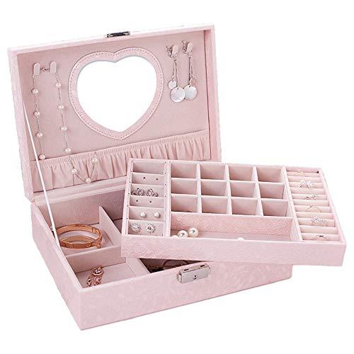 MINGZE Schmuckkästchen - verschließbare Schmuckschatulle, Schmuckkasten mit 2 Ebenen, Schmuckkoffer mit Spiegel, Schmuckkiste für Uhren, Ringe und Ketten (Hellrosa)