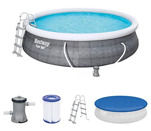 Bestway Fast Set Pool 457x457x107 cm, Gartenpool selbstaufbauend mit aufblasbarem Luftring rund im Komplett Set, mit Filterpumpe, Sicherheitsleiter und Abdeckplane