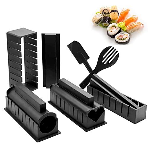 Sushi Maker Kit, 10 Pezzi Kit Sushi Completo Plastica Sushi Making Tool 8 Uniche Forme Sushi Stampo, Sushi Roll Cuore, Triangolo, Quadrato,DIY Sushi Set di Strumenti per Sushi (Nero & Rosso)