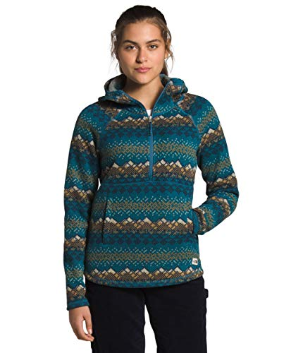 The North Face Women's Printed Crescent Hooded Pullover, Mallard Blue Landscape Knit Print, L
