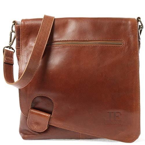 LECONI Umhängetasche Damen-Tasche Crossbag Leder Natur Schultertasche Vintage-Look Ledertasche Frauen + Herren Handtasche aus Echt-Leder 29x29x6cm braun LE3073-buf