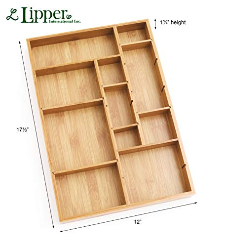Lipper International 8397 Bamboo Wood Adjustable Drawer Organizer with 6 Removable Dividers, 12