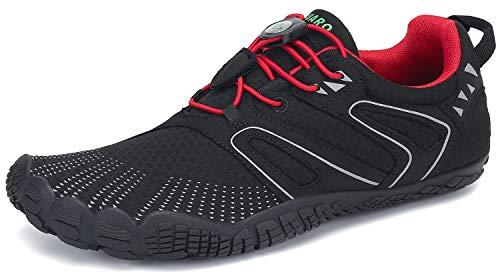 SAGUARO Barfußschuhe Herren Outdoor Sport Traillaufschuhe Fitnessschuhe Damen Barfuß Laufschuhe Walkingschuhe Minimalistische Zehenschuhe St.1 Rot 40