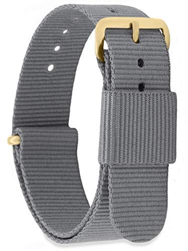 MOMENTO Damen Herren NATO Nylon Ersatz Uhren-Armband Strap mit Edelstahl-Schliesse in Gelb-Gold und Nylon-Armband in Grau 14mm