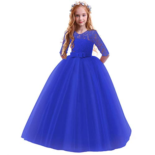 Flower Girls Pageant Ball Gowns Kids Chiffon Embroidered Tulle Wedding Party Homecoming Bridesmaid Dress for Junior Teen Royal Blue 7-8 Years
