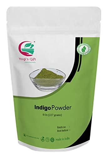 Yogi's Gift Organic Indigo Powder for Hair dye | Ideal for Black and Dark Hair | Indigofera Tinctoria | Black Henna | 8 oz (227 grams) | Organic Natural Hair color