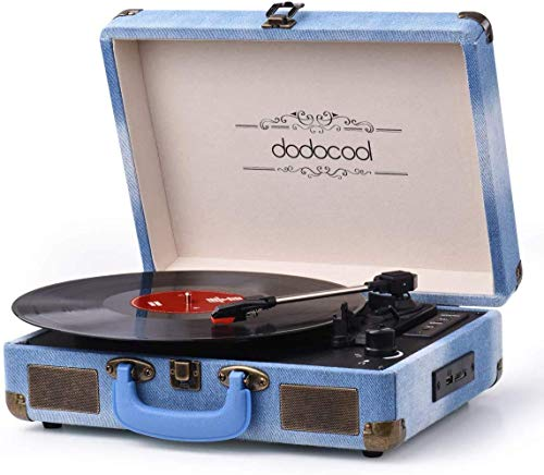 Vinyl Record Player, dodocool Vintage Turntable 3-Speed with Blue Tooth, Built in 2 Stereo Speakers, Vinyl to MP3 Converting/RCA Line Out/AUX/USB/SD Input - Jean Style