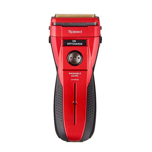 HanLuckyStars Nueva Máquina de Afeitar Eléctrica Recargable Lavable Cortacéspedes para Hombres , Usar en Seco y Húmedo (Rojo&Negro)