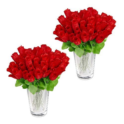 Relaxdays 96 x Kunstrosen rot, Kunstblumen, künstliche Dekoblumen, Rosen mit Stiel und Blättern, rote Köpfe, H: 26 cm, red