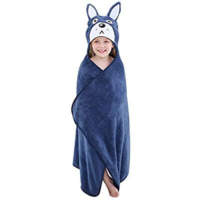 "MICHLEY Cartoon Hooded Baby Towel Unisex, Premium Soft Swimming Bathrobe Large Washcloths 27.5"" x 45.5"" for 0-7T"