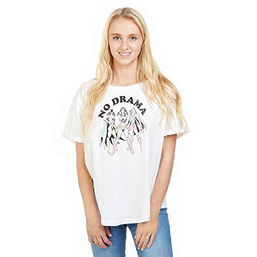 DC Comics No Drama Camiseta, Blanco White, 38 (Talla del Fabricante: Small) para Mujer