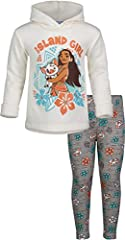 "Cozy fleece hoodie Adorable screen print design of Moana and Pua with leaves and flowers with the words ""Island Girl"" Cool all-over print on leggings Perfect for birthday gift, dress-up, or everyday wear; elastic waist for a better fit Machine wash c..."
