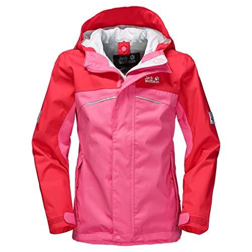 Jack Wolfskin Girls Topaz Texapore Jacket Pink, Kinder Regenjacke, Größe 92 - Farbe Hot Pink