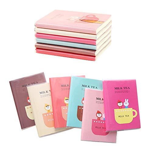 Shulaner Piccolo taccuino righe, mini bloc notes, 60 foglio notebook, 12 x 9 cm, formato tascabile, mini taccuini per bambini, Confezione da 6
