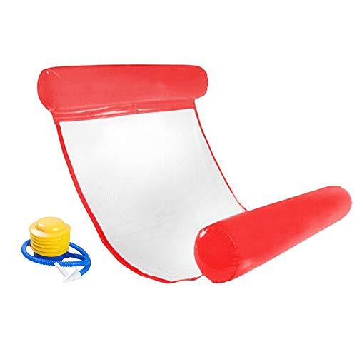 INTVN Uppblåsbar flytande säng, vattenhängmatta swimmingpool luftbädd strandmatta vår flotte sommar utomhus vuxen solstol vatten soffa (röd)