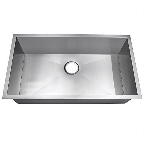 Golden Vantage Single Basin Bowl Undermount Handmade 18 Gauge Stainless Steel Kitchen Sink (32 Inch x 18 Inch)