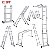 Lifewit 12.5ft Folding Ladder Aluminum Extension 7 in 1 Multi Purpose Extendable Platform Scaffold Heavy Duty