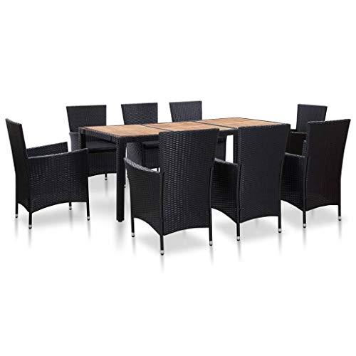vidaXL 9 Piece Garden Dining Set with Black Synthetic Rattan Cushions