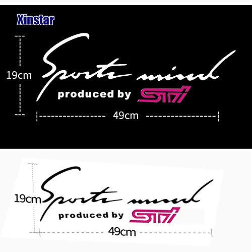 Sports Mind ステッカー スバル シルバーorブラック STI ロゴ ドレスアップ (文字黒)