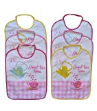 Ellepi - Baberos grandes de algodón de rizo impermeables con parte trasera de PVC, para dar de comer al bebé, ideal como regalo de nacimiento o lactancia, Bimba1,