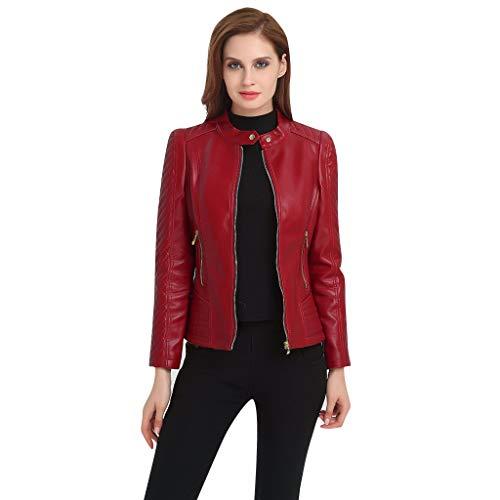 FIRMON-Jacke Rot Klassisch Damen Schlank Kurz Lederjacke Herbst Lederimitat Taste Standard Halsband Plus Größe Motorrad Biker Mantel