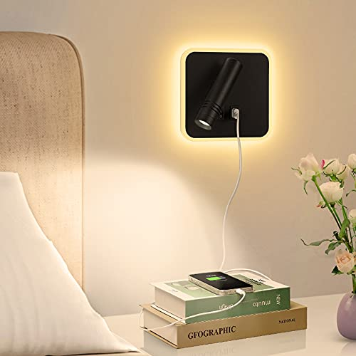Lyihlou LED Wandleuchte Wohnzimmer Leselampen Aluminium Wandlampe Modern Wandstrahler Leselicht für Schlafzimmer 3 Modi- Wandstrahler, Wandbeleuchtung/Wohnzimmer, Schlafzimmerleuchte (3W+6W)