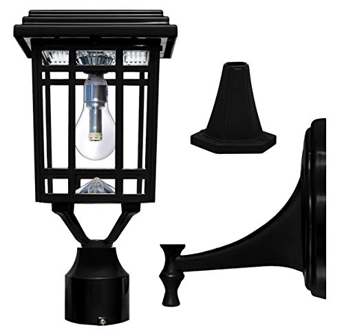 Gama Sonic GS-114B-FPW-BLK Prairie Bulb Lamp Outdoor Solar Light Fixture, Pole Pier & Wall Mount Kits, Black