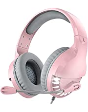 VersionTECH. White Gaming Headset for Xbox One, PS4 PS5 Playstation 5 Gaming Headphones with Clear Mic, LED Lights for PS4, Xbox 1 PC,Mac Computer, Nintendo Swith, Girls and Kid (Pink)
