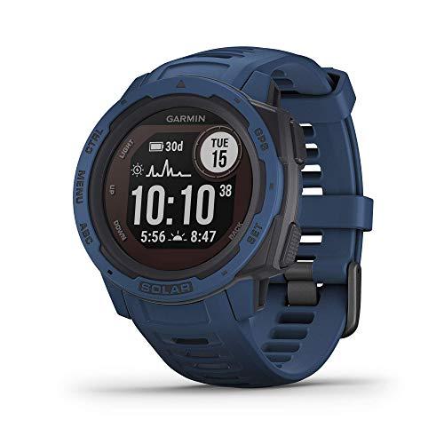 Garmin Instinct Solar, Solar-Powered Rugged Outdoor Smartwatch, Built-in Sports Apps and Health Monitoring, Dark Blue (Renewed)