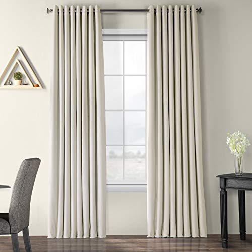 HPD Half Price Drapes VPCH-VET1219-108-GR Signature Extra Wide Grommet Blackout Velvet Curtain (1 Panel), 100 X 108, Off White