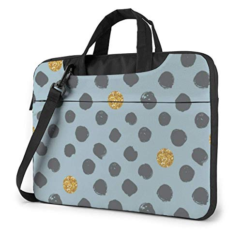 Dots Golden Glitter Laptop Shoulder Bag Compatible With 13-15.6in Ultrabook Carrying Handbag With Strap,