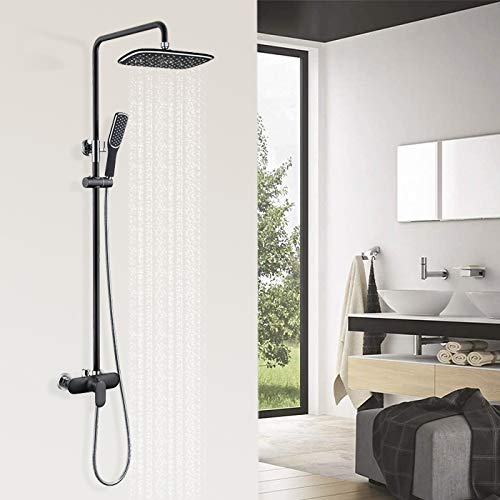 HOMELODY Schwarz Duschsystem Regendusche,Duscharmatur Duschset Überkopfbrauseset, Dusche Duschpaneel Duschgarnitur Duschsäule, Anti-Verbrühungs-Duschsystem