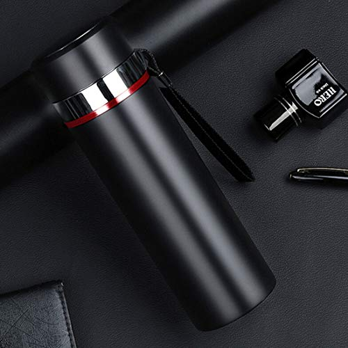 Logo Thermos cup Cllozd 500ml Outdoor Portable 304 Stainless Steel Heat Insulation Cup (Black) (Color : Black)