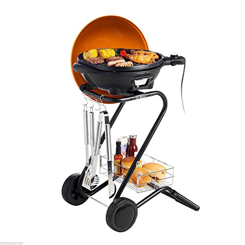 BBQ Grill, Indoor Barbecue Grill Classic Plate Contact Grills, Indoor Grill Electric Smokeless, Nonstick Surface Searing Grill with Removable Drip Tray (BBQ Grill C)