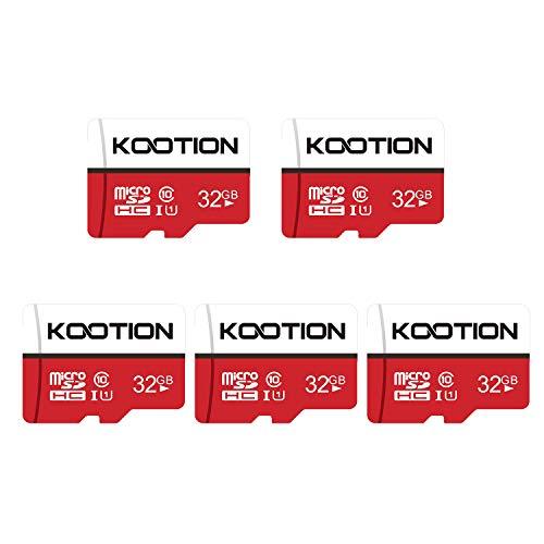 KOOTION Micro SD Card 32GB Clase 10 Tarjeta Memoria Micro SDHC(U1 y A1) Tarjeta MicroSD Memory Card TF Tarjeta 32 Giga 5 Pack con Adaptador para Telefonos,Cámara,Gopro, Alta Velocidad hasta 100 MB/s