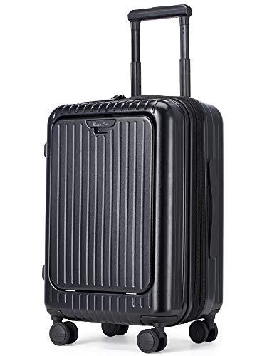 Roam.Cove スーツケース 静音 機内持ち込み キャリーケース キャリーバッグ 軽量 ビジネス フロントオープン 多機能 TSAロック 日乃本キャスター 出張 シンプル おしゃれ RC-SU028 (NEW ブラック-最適進化, 約39L(拡張時),