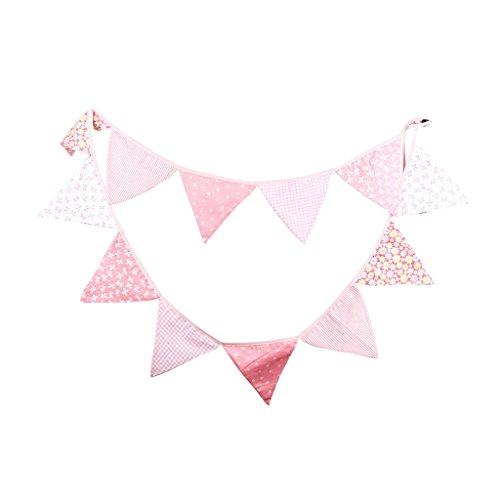 Guirlande de Fanions Bannière Banderole en Coton Décor pour Fête de Mariage Photo Prop Rose