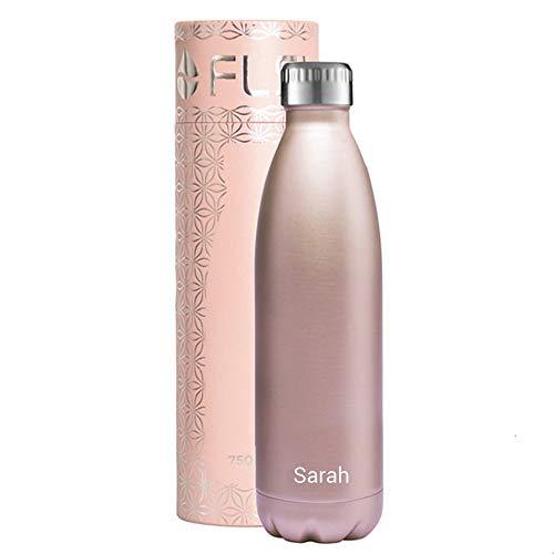 FLSK Isolierflasche MIT Gravur (z.B. Namen) 750ml Roségold - Trinkflasche hält 18 Stunden heiß und 24 Stunden kalt - 100% Dicht - Kohlensäurefest