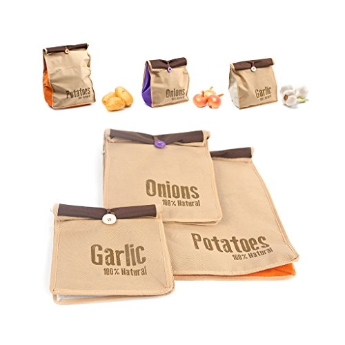 Balvi Bolsas Vegetales Super Fresh Color Marron 3 Bolsas Bolsa para Vegetales Tipo Saco rústico, almacenar Patatas en optimas Condiciones Tela 46x27,5x12 cm