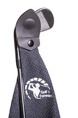 Golf It Forward Black Magnetic Golf Towel | Industrial Magnet | Soft Microfiber Waffle Pocket Material | Sticks to Clubs Or Cart
