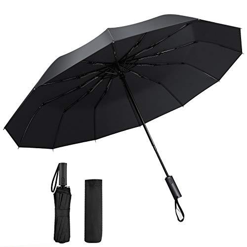Doedoeflu Regenschirm Taschenschirm Auf-Zu-Automatik mit 12 Ribs Stabil Kompakt Windfest Sturmfest bis 150 km/h, Doppelzweck von Sonnenschutz und Regenschutz, inkl. Lederschutzhülle