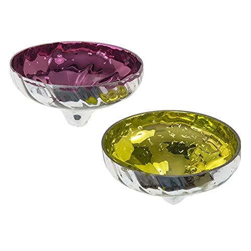 SIDCO Schwimmschale Glas 2 x Teelichthalter Kerzenhalter Teich Schwimmkerzenhalter