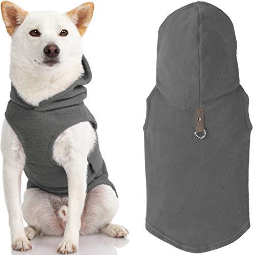 Gooby Every Day - Gilet in pile per cani di piccola taglia, con cappuccio, colore: Grigio