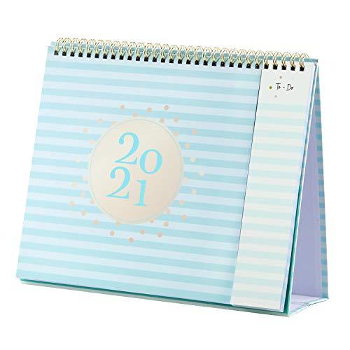 Tischkalender 2021, Monatskalender 2021 mit 2 Taschen, Januar 2021-Dezember 2021 Tischkalender mit Aufgabenliste, Blau, 26,5 x 21,5 x 8,5cm