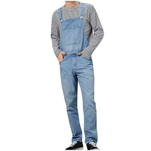 Petos de Pantalones Vaqueros de Mono para Hombre Jumpsuit Casual Bolsillo Babero pantalón con Peto Tirante Overol de Jeans Pantalones de Mezclilla para Trabajos (3XL(EU=84), Azul Claro)