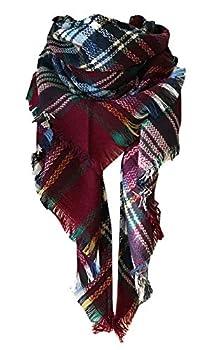 Wander Agio Womens Warm Scarf Triangle Shawls Large Scarves Stripe Plaid Fichu Big New Purplish Red 24