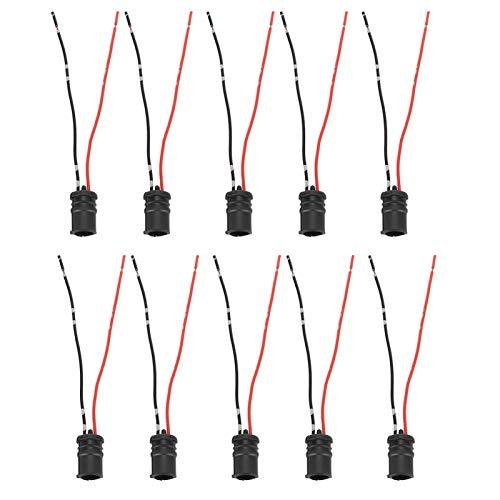 Fydun 10 piezas/juego Soporte T10 W 5 W Bombillas LED Adaptador de conector de arnés precableado para Coche Bicicletas Camiones Remolques Barcos Caravanas
