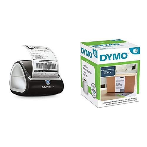 Dymo S0904950 LabelWriter 4XL - für extrabreite Tischetikettendrucker Etikettensystem + Dymo S0904980 LW Extra große Versandetiketten (104 mm x 159 mm Rolle, für 4XL-Drucker) schwarzer Druck auf weiß