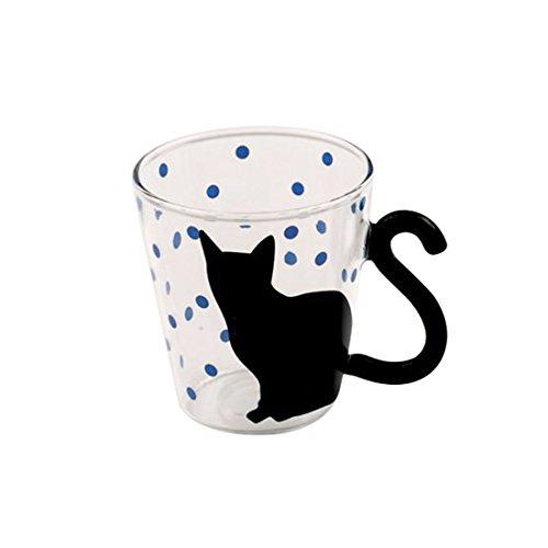 (Blue) - Cute Creative Cat Kitty Glass Mug Cup Tea Cup Milk Cup Coffee Cup Blue