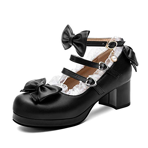 100FIXEO Women Sweet Platform Mary Jane Heels Ankle Strap Bow Chunky Heel Cosplay Lolita Shoes Cute Strappy Comfort Princess Uniform Shoes with Lace (Black, 10.5)